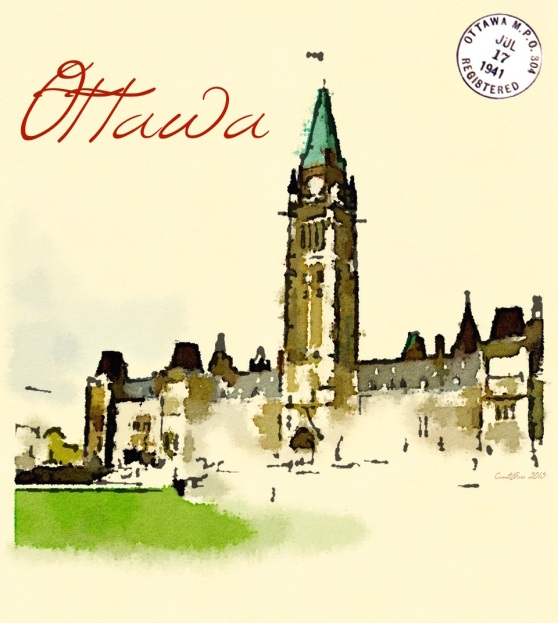 Ottawa Postcard with Postmark