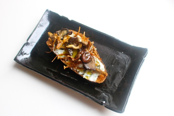plated mushroom appetizer